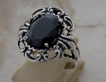 KAIR - duży srebrny pierścień z onyksem